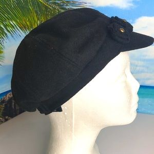 August Hat Company Black Newsboy Cap with Rosebuds